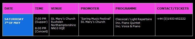 Astaria String Quartet Concerts Diary 2011