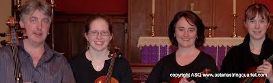 Astaria String Quartet Heads Photo in Church
