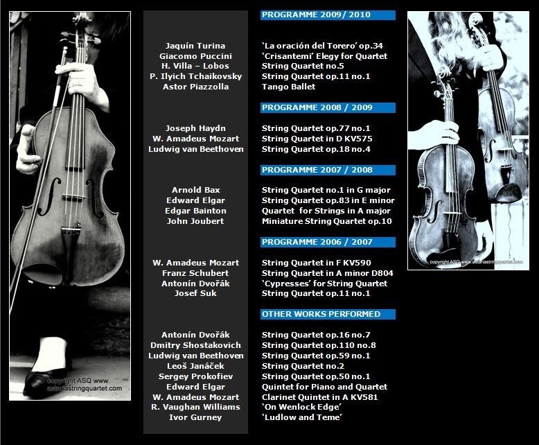 Astaria String Quartet all Previous Programmes